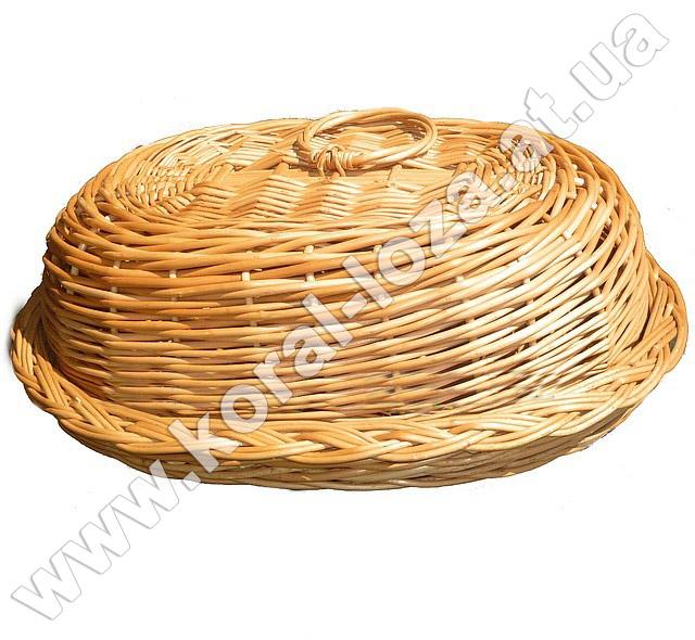 Хлебница плетеная из лозы овальная с крышкой