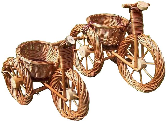 Цветочник велосипед из лозы