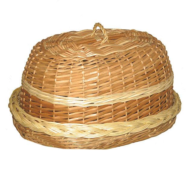 """Хлебница овальная с крышкой """"плетеная из половинчатой лозы"""""""